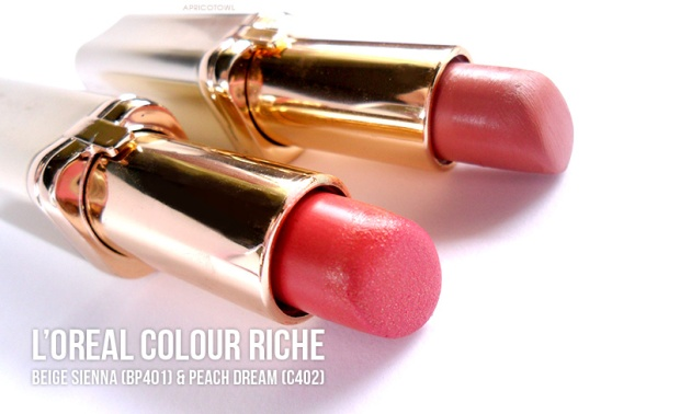 loreal colour riche lipstick beige sienna peach dream